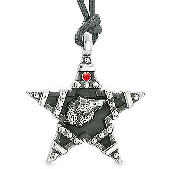 ハウリング狼魔法スーパー スター五芒星力お守り赤オーストリア クリスタル ペンダント ネックレス