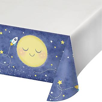 Moon love got the favorite baby shower table cover 137x259cm 1 piece children birthday theme party