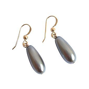 GEMSHINE Damenohrringe Tahiti grauen Perlen Tropfen vergoldete Ohrhänger