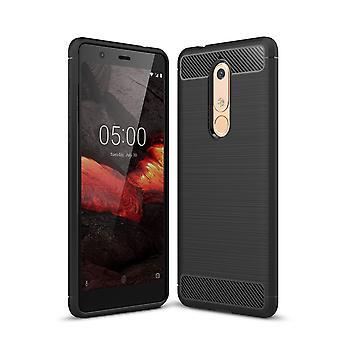 Nokia 5.1 dække silikone sort carbon ser sag TPU telefon sag kofanger