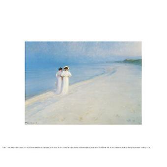 Sommer ettermiddag på Skagen Strand plakat ut av Peter Severin Kroyer (8 x 10)