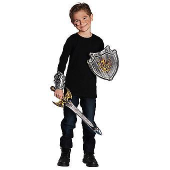 Ritter Set Kinder 3tlg Schild Schwert Manschette Accessoire Karneval Burg Schloss
