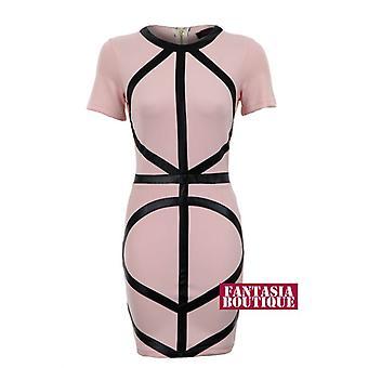 Ladies PVC Diagonal stropper kort Bodycon svart hvit fersken kvinners påkledning