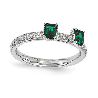 2.5mm 925 Sterling Silver Polished Prong set Rhodium plated Stackable Expressions Created Emerald Two Stone Ring Jewelry