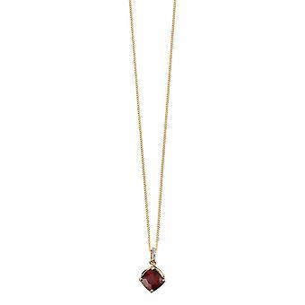 Elements Gold Garnet Drop Pendant - Red/Gold