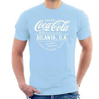 Coca Cola Atlanta GA vit Text mäns T-Shirt