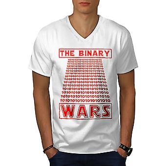 Binary Programmer Men WhiteV-Neck T-shirt | Wellcoda