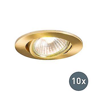 QAZQA Set of 10 Recessed Spotlight Gold - Cisco