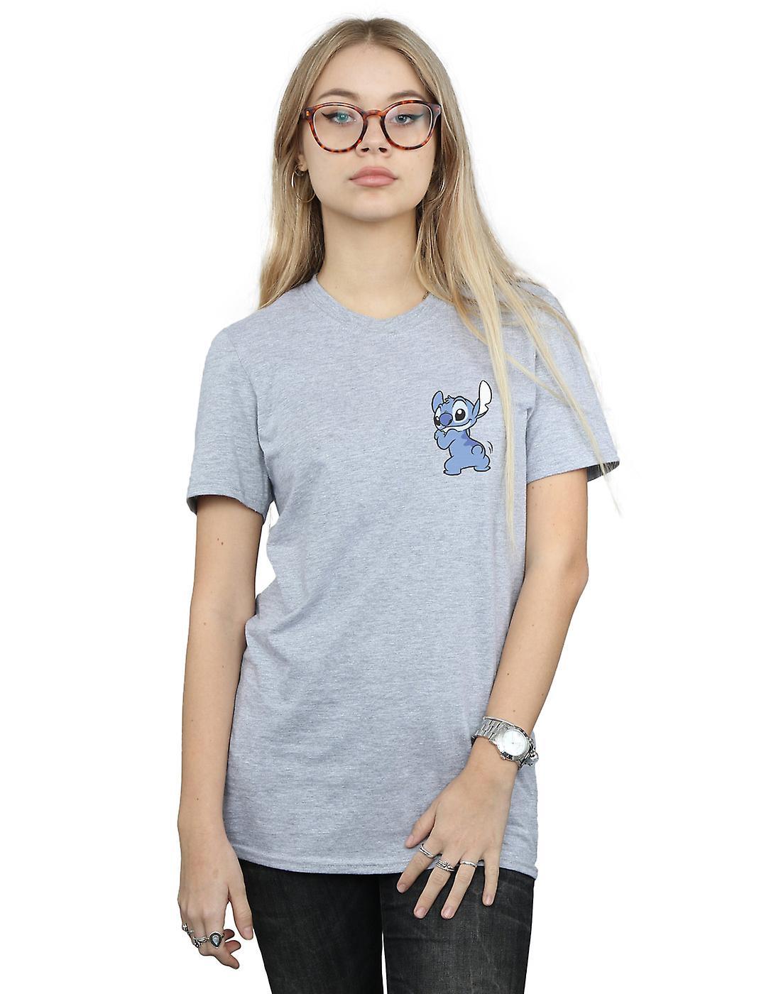 Disney Women's Lilo And Stitch Stitch Backside Breast Print Boyfriend Fit T-Shirt