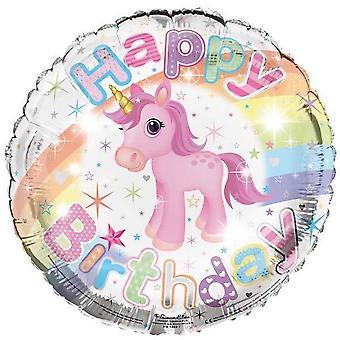 Simon Elvin Happy Birthday Unicorn Rainbow 18in Foil Balloon