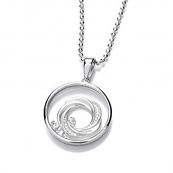 Cavendish French Celestial Silver and CZ Spinning Comet Pendant with Sterling Silver Chain