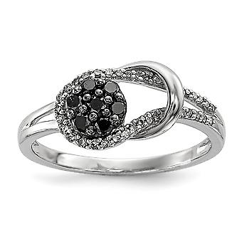 925 Sterling Silver Polished Prong set Gift Boxed Black and White Diamond Love Knot Ring Jewelry Gifts for Women - Ring