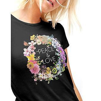 Fashionkilla Womens/Ladies Oversized Peace And Love Floral Print T-shirt