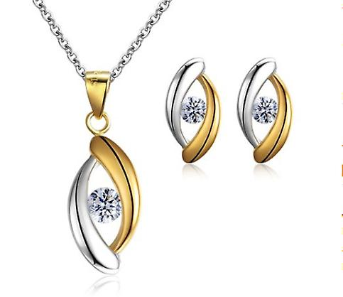 925 Sterling Silver 2-tone Gold And Silver Eye Shape Jewellery Set