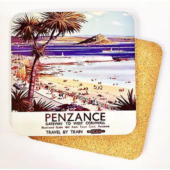 Penzance Old Railway Advert Cork Backed Drinks Coaster (se)