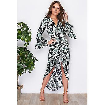 St Barth floral Wrap flûte manches robe Maxi