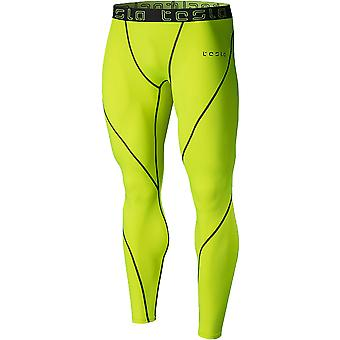 TSLA Tesla MUP19 Cool Dry Compression Pants - Neon Yellow/Dark Gray