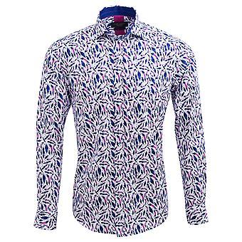 Guide London Blue Cotton Sateen Bright Leaf Motif Mens Shirt