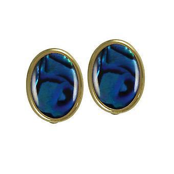 Eeuwige collectie Cabochon blauwe Paua Shell Gold Tone Stud Clip op oorbellen