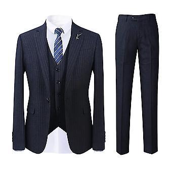 Allthemen Men's Suits Slim Classic Striped Prints Suit Jackets Casual&Business 3-Pieces Blazer&Trousers&Vest