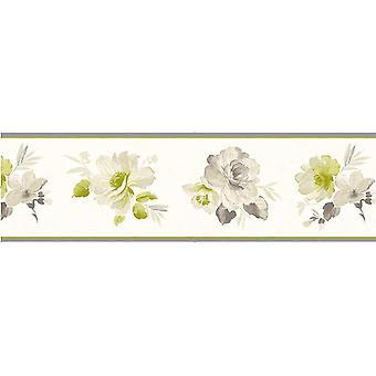 Fine Decor Genevieve Floral Wallpaper Border Green Beige Brown Flowers