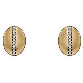 Elements Gold Diamond Channel Oval Earrings - Gold/Silver