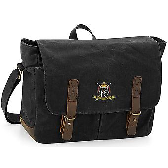 16ème 5ème The Queens Royal Lancers Colour - Licensed British Army Embroidered Waxed Canvas Messenger Bag