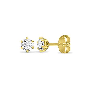 Jewelco London Solid 9ct Yellow Gold White Round Brilliant Cubic Zirconia 6 Griffe Solitaire Heavy Weight Stud Boucles d'oreilles, 3mm