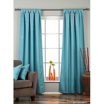 Turquoise Tab Top Matka Raw Silk Curtain / Drape / Panel - Piece