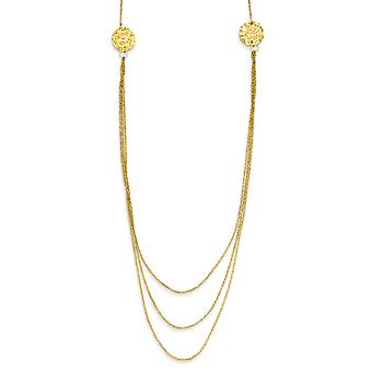 14k Yellow Gold Polished Hammered Spring Ring 3 Layer Ropa Chain Texture Side Circles With 2in Ext Necklace - 16 Inch
