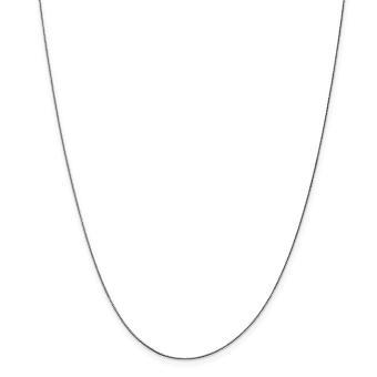14k White Gold kiinteä kiillotettu kevät rengas 0.50mm laatikko Chain kaulakoru - pituus: 14-30