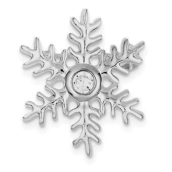 925 Sterling Silver Polished Rhodium plated CZ Cubic Zirconia Simulated Diamond Snowflake Pin and Pendant Necklace Jewel