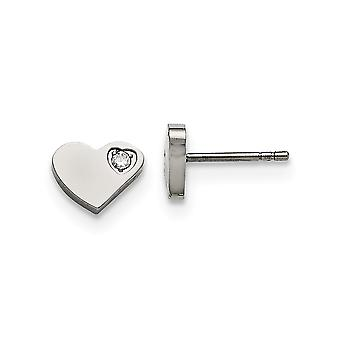 Stainless Steel Cubic Zirconia Polished Heart Post Earrings