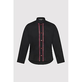 Camisa abotonada de manga larga para niño's con costuras de contraste en negro (2-12 y3años)
