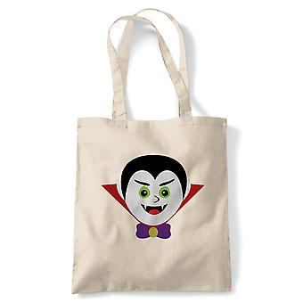 Vampire Tote | Halloween Fancy Dress Costume Trick Or Treat | Reusable Shopping Cotton Canvas Long Handled Natural Shopper Eco-Friendly Fashion