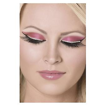 Womens Silver Glitter Eyelashes With Glue Fancy Dress Accessory