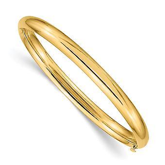 14k Yellow Gold Hollow Safety bar 3/16 Polerad Hinged Baby Cuff Stackable Armband Smycken Gåvor för kvinnor
