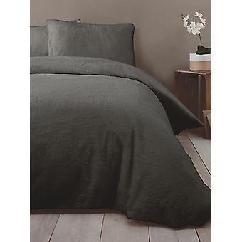 Snuggle fundamento Teddy Fleece capa de edredão set-duplo, carvão vegetal