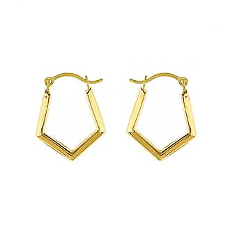 Eternity 9ct Gold Small Pentagonal Polished Creole Hoop Boucles d'oreilles