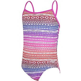 Zoggs Girls Ikat Yaroomba Swimming Swimwear Swimsuit Holiday Costume Floral/Pink