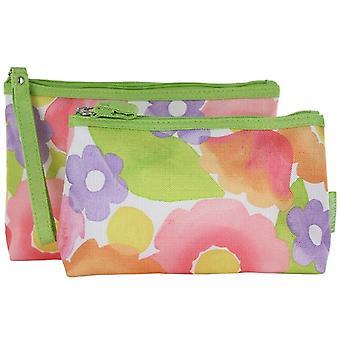 Clinique Floral Print 2 Pcs Cosmetic Makeup Bag New