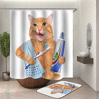 Gato cepillar su cortina de ducha de dientes