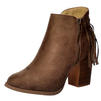 Onlineshoe Tassel And Fringe Suede Cuban Heel Ankle Boot - Black, Taupe