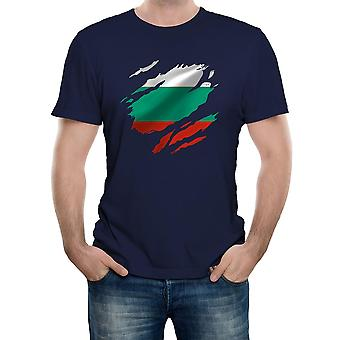 Reality glitch torn bulgaria flag mens t-shirt