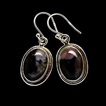 Gabbro الأقراط الحجرية 1 1/4 & quot; (925 الجنيه الاسترليني الفضة) - اليدوية بوهو خمر مجوهرات EARR393468