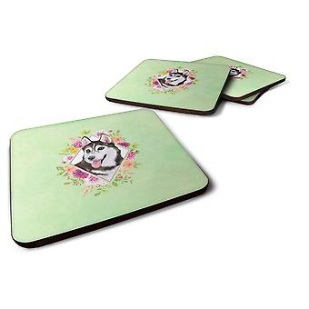 Set of 4 Siberian Husky #1 Green Flowers Foam Coasters Set of 4