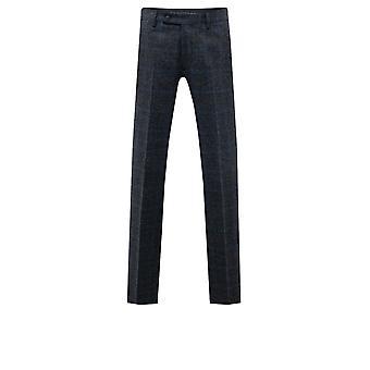 Moon Hombres Negro /Azul Tweed Traje Pantalones Ajuste Regular