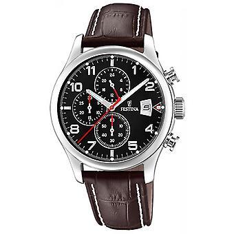 Festina CHRONO F20375-6 watch - watch datum stalen zwarte Armband leder bruin man