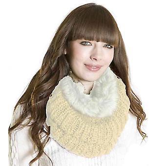 Doamnelor Designer Chunky cald de iarnă tricotate Snood Eșarfă & Faux Blana Trim Fildeș