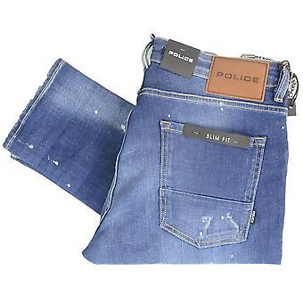 883 Police Deniro Slim Fit Dark Wash Distressed Paint Jeans